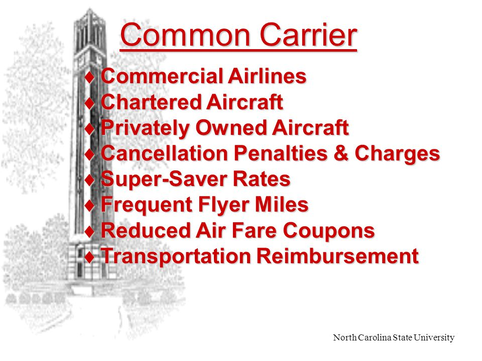 North Carolina State University Ground Transportation  to/from Duty Station  to/from Destination  Airport Parking For Air Travel