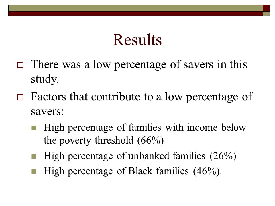 Results  There was a low percentage of savers in this study.