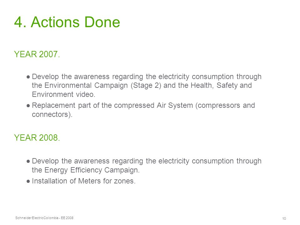Schneider Electric 10 Colombia - EE 2008 4. Actions Done YEAR 2007.