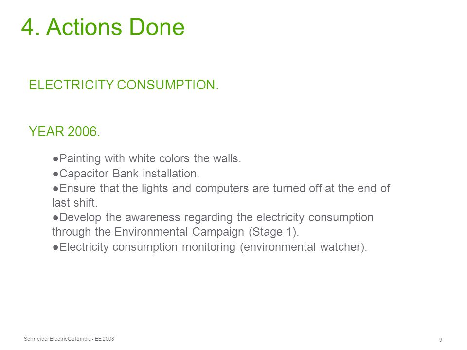 Schneider Electric 9 Colombia - EE 2008 4. Actions Done ELECTRICITY CONSUMPTION.
