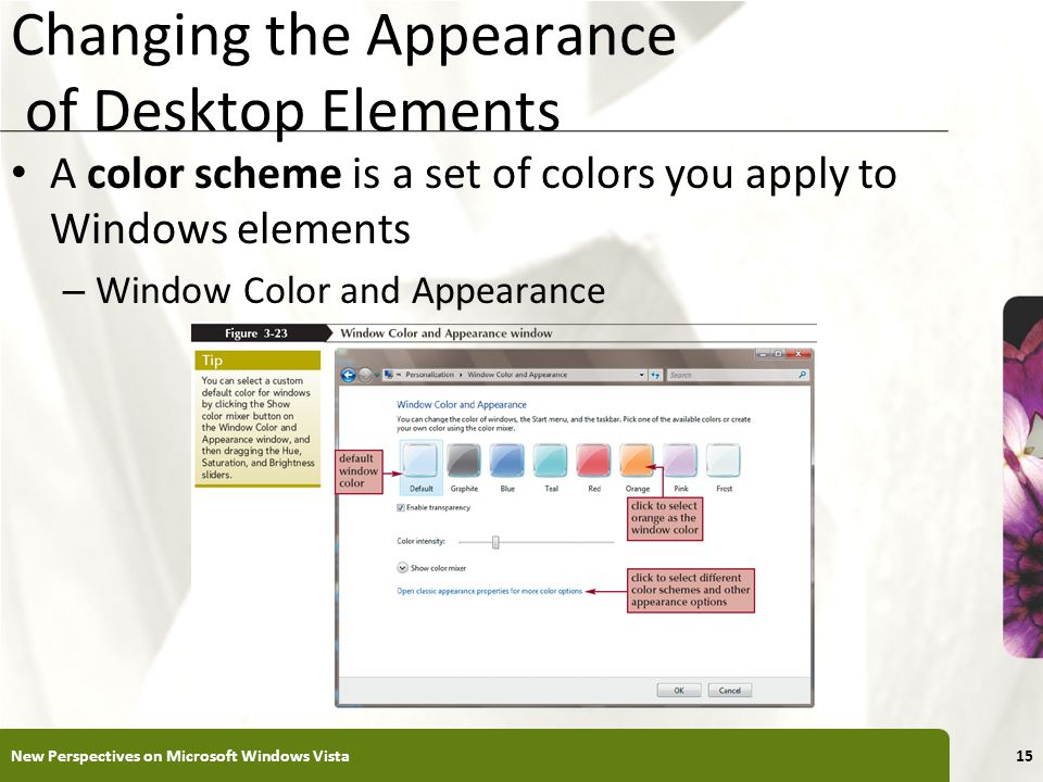 XP Changing the Appearance of Desktop Elements A color scheme is a set of colors you apply to Windows elements – Window Color and Appearance New Perspectives on Microsoft Windows Vista15