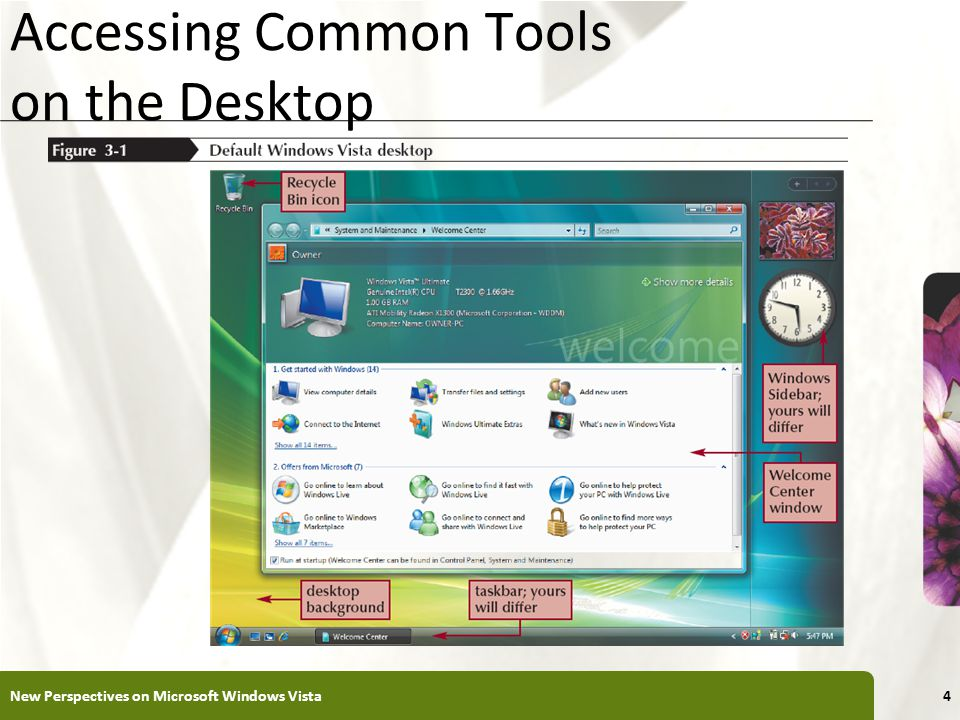 XP Accessing Common Tools on the Desktop New Perspectives on Microsoft Windows Vista4