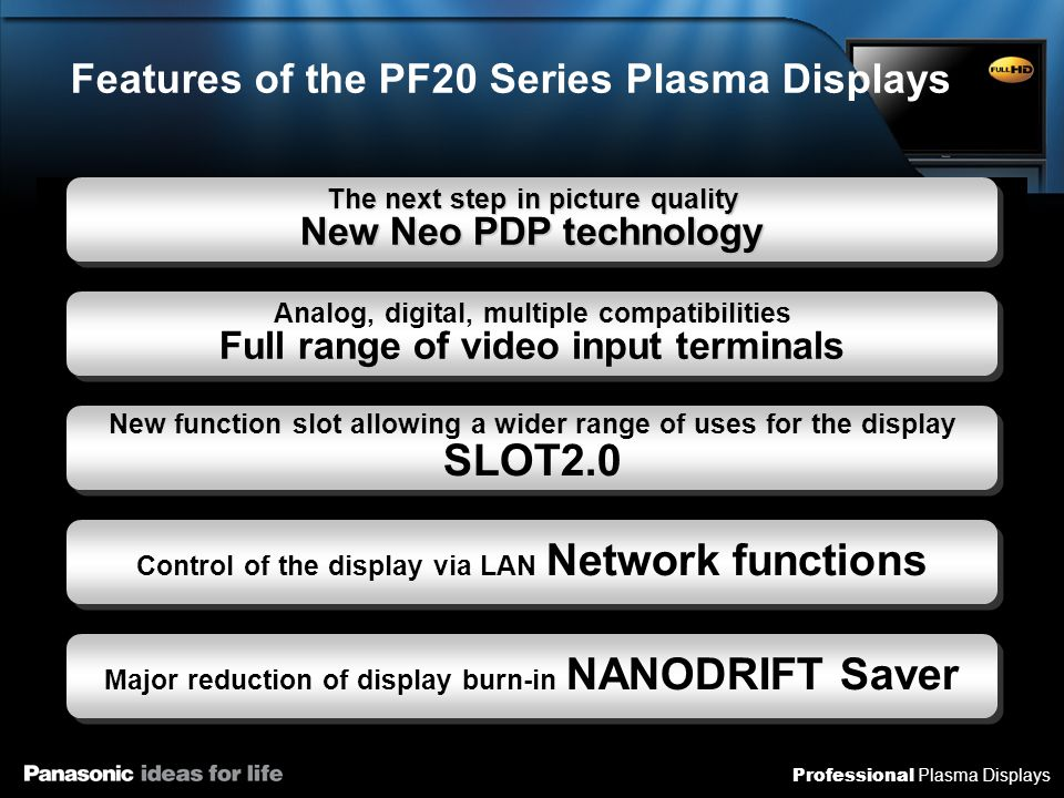 Professional Plasma Displays New Function Slot Allowing a Wider Range of Applications for the Display SLOT 2.0 Further enhancing the video input terminals Dual Link HD-SDI terminal board Dual Link HD-SDI terminal board HD-SDI/SDI HD-SDI/SDI Dual HDMI terminal board Dual HDMI terminal board Can handle HD-SDI standards and full digital video transmission as used in the broadcasting industry For professional users PC with internal display Media player devices with internal displays Digital tuners with internal displays AMX AVC transmission system AMX AVC transmission system CAT5e cable transmission system CAT5e cable transmission system DVI optical transmission system DVI optical transmission system Contents data Adding functions to the display Playback of SD card contents, easy to use as a signage system Compatible with various remote communications systems including DVI optical transmission systems Easy signage system Distance transmission of contents New functions can be added for different applications, expanding still further its utilizability