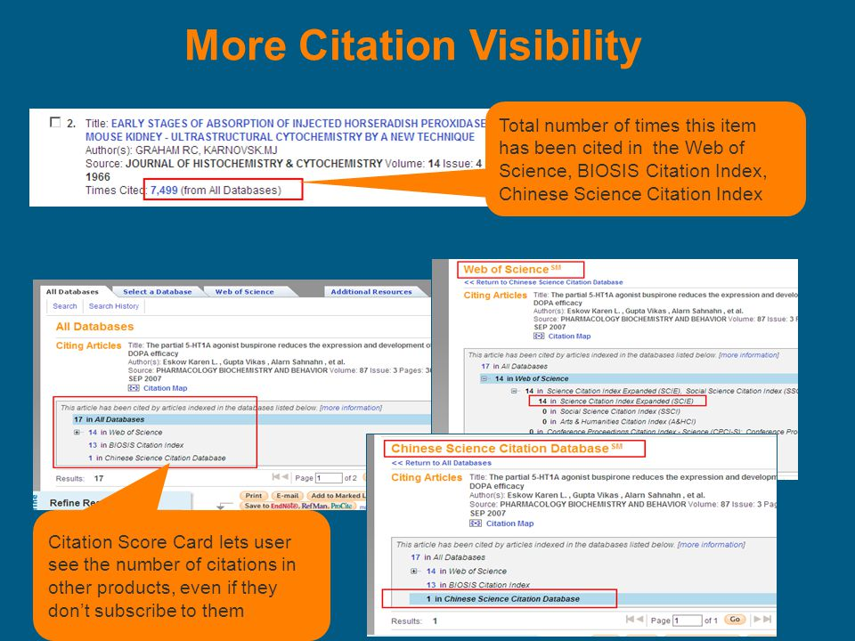 More Citation Visibility Total number of times this item has been cited in the Web of Science, BIOSIS Citation Index, Chinese Science Citation Index Citation Score Card lets user see the number of citations in other products, even if they don't subscribe to them
