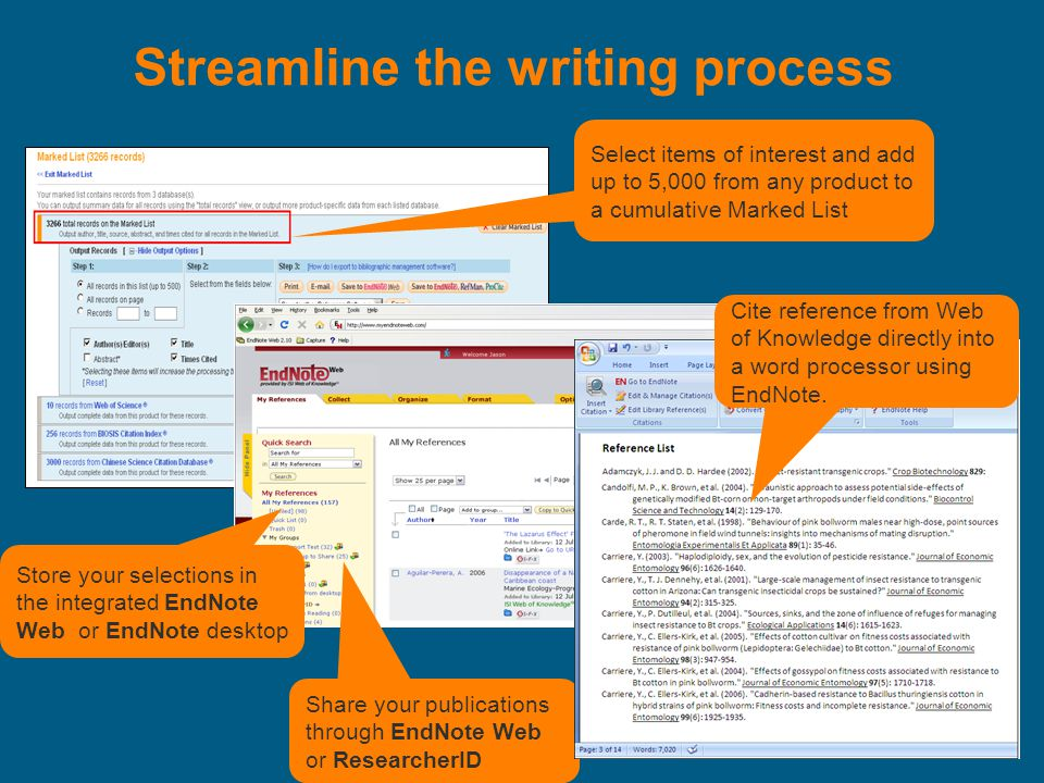 Streamline the writing process Select items of interest and add up to 5,000 from any product to a cumulative Marked List Share your publications through EndNote Web or ResearcherID Store your selections in the integrated EndNote Web or EndNote desktop Cite reference from Web of Knowledge directly into a word processor using EndNote.