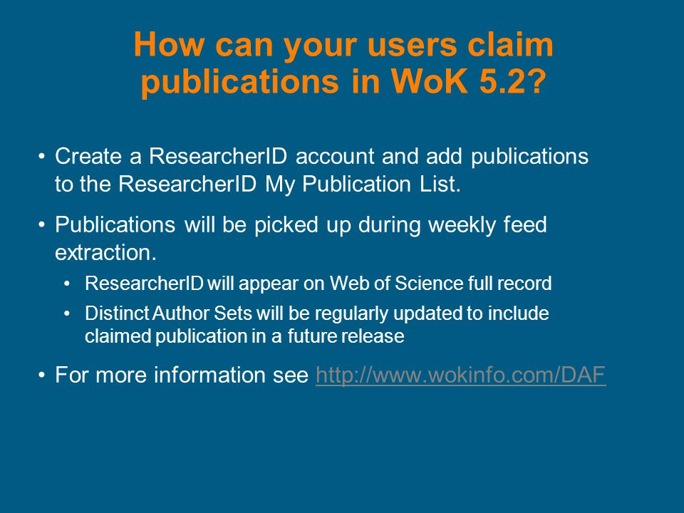 How can your users claim publications in WoK 5.2.