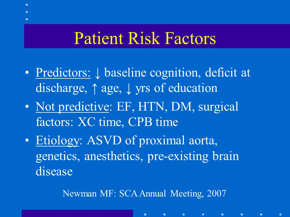 Patient Risk Factors Predictors: ↓ baseline cognition, deficit at discharge, ↑ age, ↓ yrs of education Not predictive: EF, HTN, DM, surgical factors: