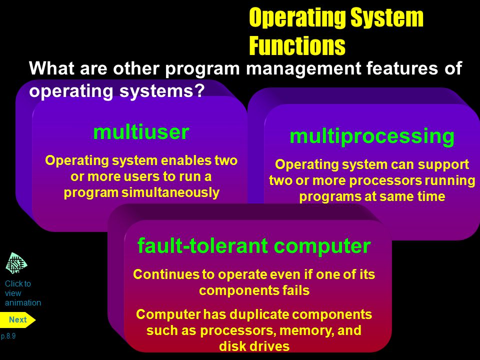 Operating System Functions p.8.9 Next multiuser Operating system enables two or more users to run a program simultaneously multiprocessing Operating s
