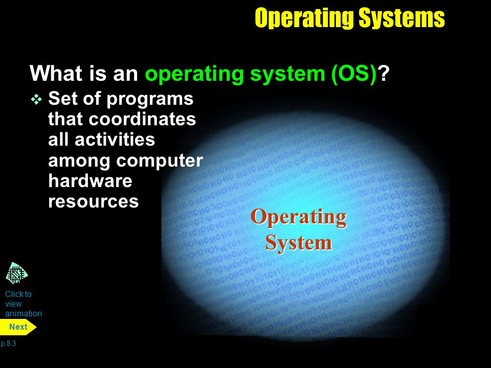 Operating System Operating Systems What is an operating system (OS)? v Set of programs that coordinates all activities among computer hardware resourc