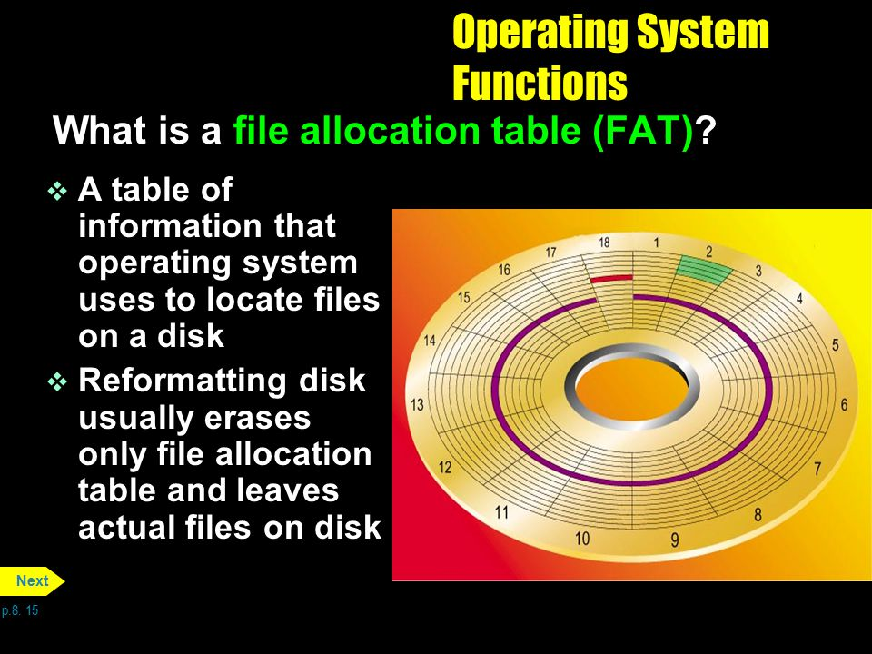 Operating System Functions What is a file allocation table (FAT)? v A table of information that operating system uses to locate files on a disk v Refo