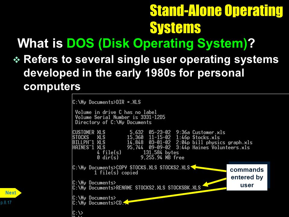 commands entered by user Stand-Alone Operating Systems What is DOS (Disk Operating System)? v Refers to several single user operating systems develope