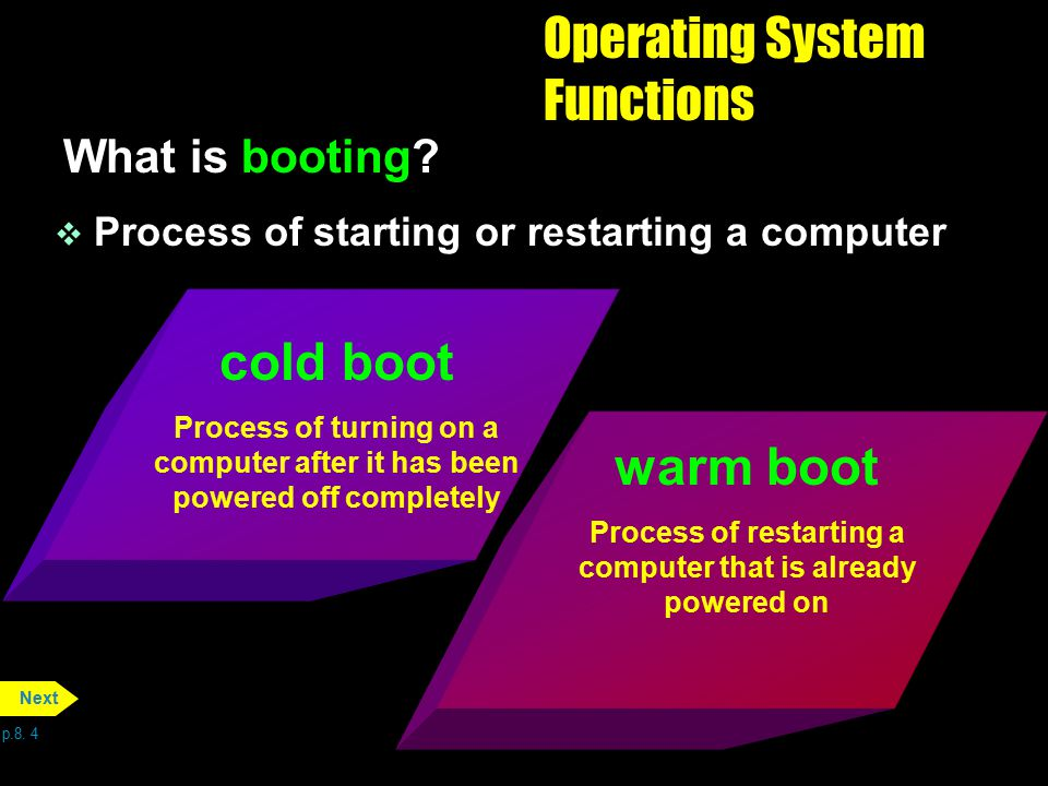 Operating System Functions What is booting? v Process of starting or restarting a computer p.8. 4 Next cold boot Process of turning on a computer afte