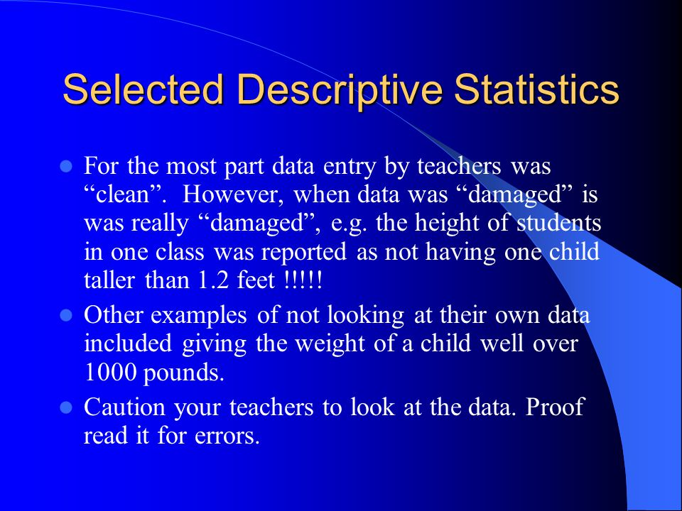 Selected Descriptive Statistics For the most part data entry by teachers was clean .