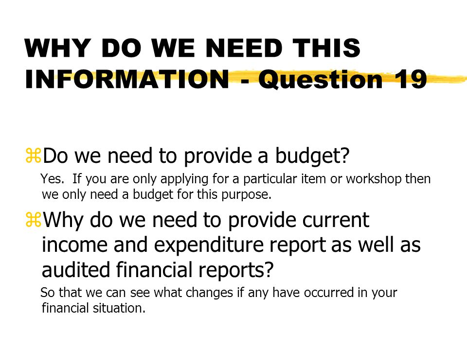 WHY DO WE NEED THIS INFORMATION - Question 19 zDo we need to provide a budget.