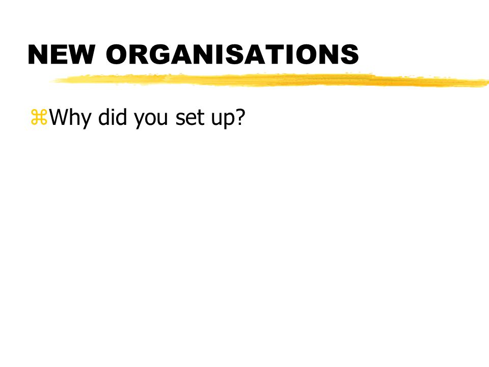 NEW ORGANISATIONS zWhy did you set up?
