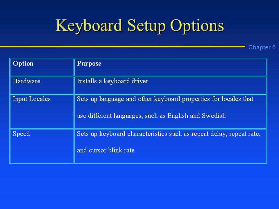 Chapter 6 Keyboard Setup Options
