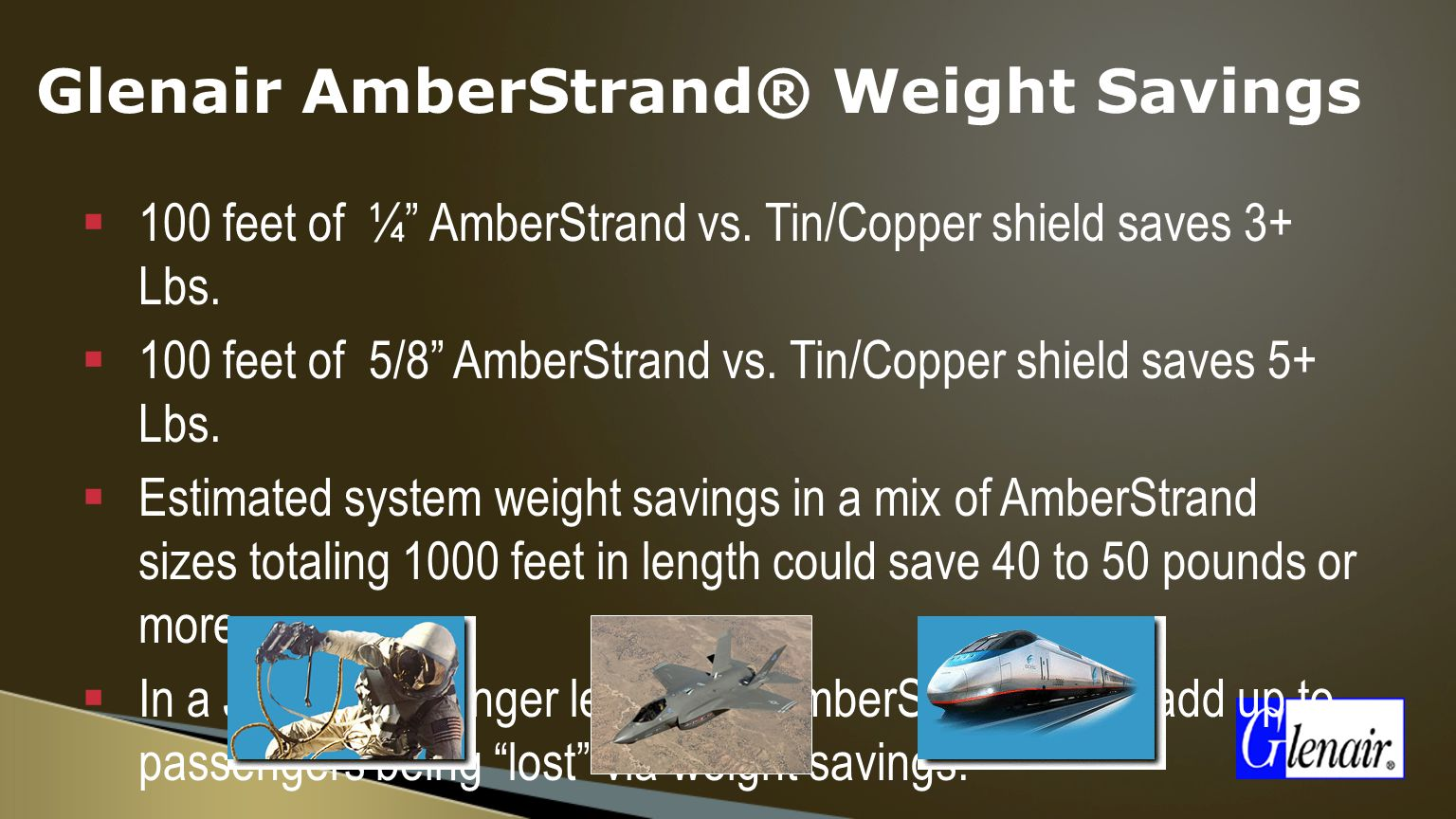 Glenair AmberStrand® Weight Savings  100 feet of ¼ AmberStrand vs.