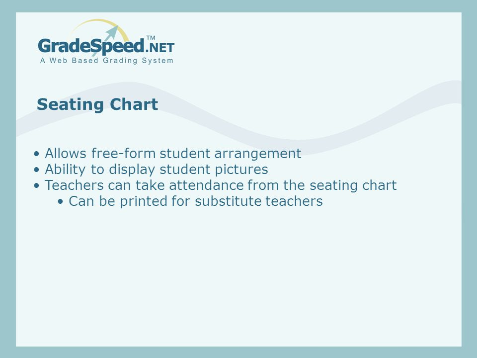 Seating Chart Allows free-form student arrangement Ability to display student pictures Teachers can take attendance from the seating chart Can be printed for substitute teachers