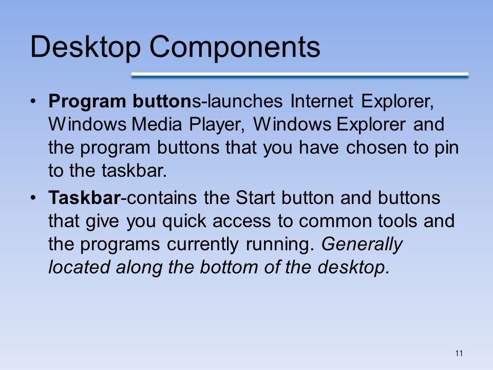 Desktop Components Program buttons-launches Internet Explorer, Windows Media Player, Windows Explorer and the program buttons that you have chosen to pin to the taskbar.