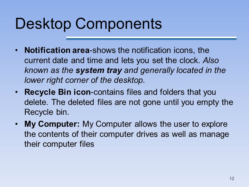 Desktop Components Notification area-shows the notification icons, the current date and time and lets you set the clock.