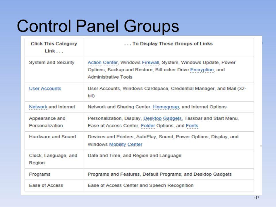 Control Panel Groups 67