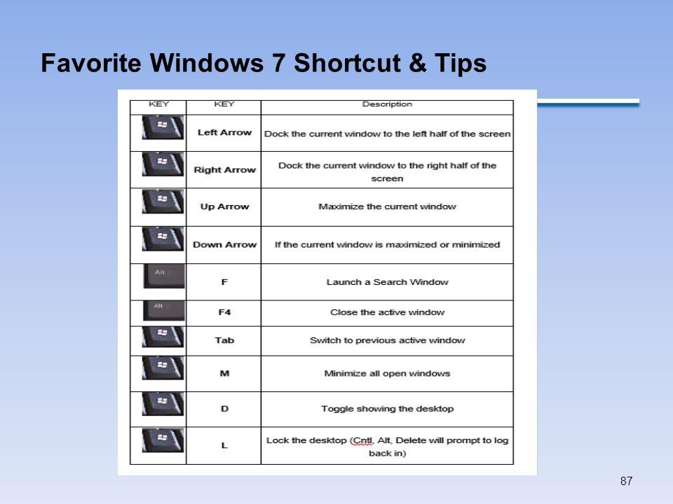 Favorite Windows 7 Shortcut & Tips 87