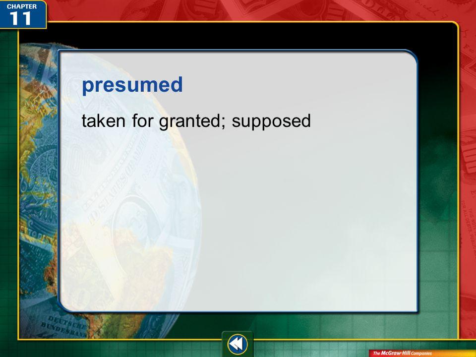 Vocab34 presumed taken for granted; supposed