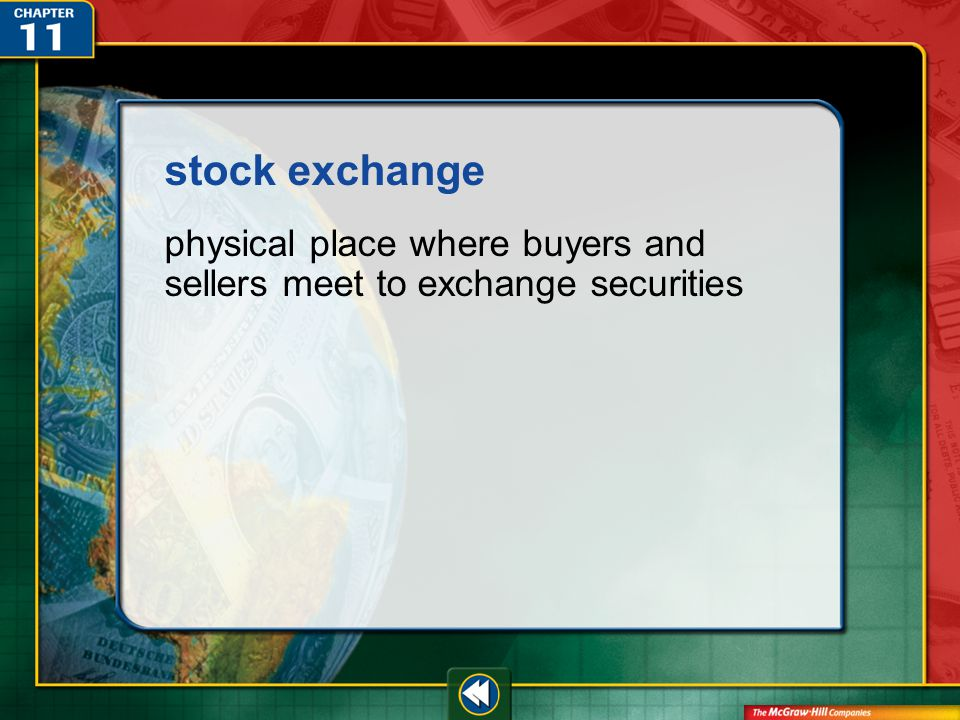 Vocab42 stock exchange physical place where buyers and sellers meet to exchange securities
