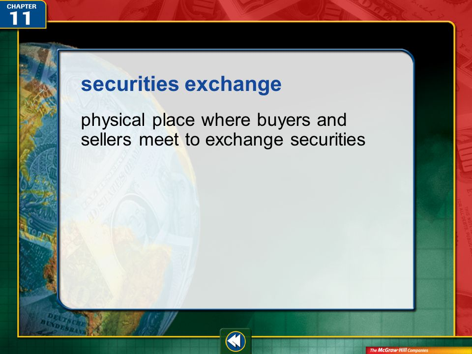 Vocab43 securities exchange physical place where buyers and sellers meet to exchange securities