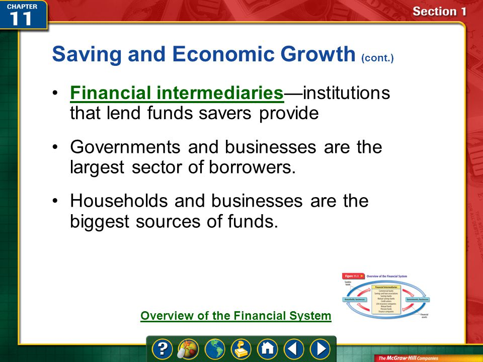 Section 1 Financial intermediaries—institutions that lend funds savers provideFinancial intermediaries Governments and businesses are the largest sector of borrowers.