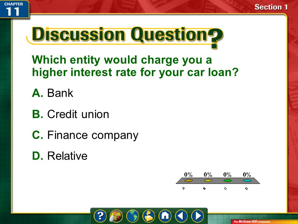 A.A B.B C.C D.D Section 1 Which entity would charge you a higher interest rate for your car loan.