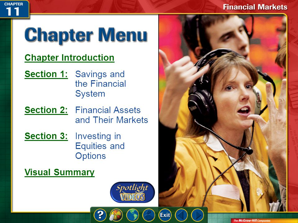 Chapter Menu Chapter Introduction Section 1:Section 1:Savings and the Financial System Section 2:Section 2:Financial Assets and Their Markets Section 3:Section 3:Investing in Equities and Options Visual Summary