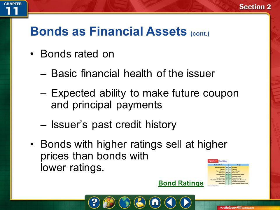 Section 2 Bonds rated on –Basic financial health of the issuer –Expected ability to make future coupon and principal payments –Issuer's past credit history Bonds as Financial Assets (cont.) Bonds with higher ratings sell at higher prices than bonds with lower ratings.