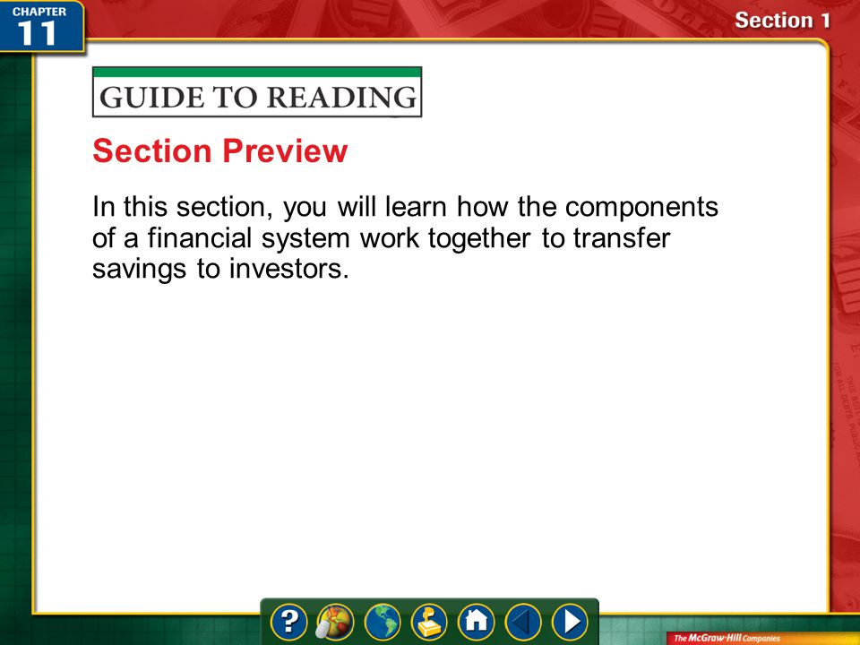 Section 1-Preview Section Preview In this section, you will learn how the components of a financial system work together to transfer savings to investors.