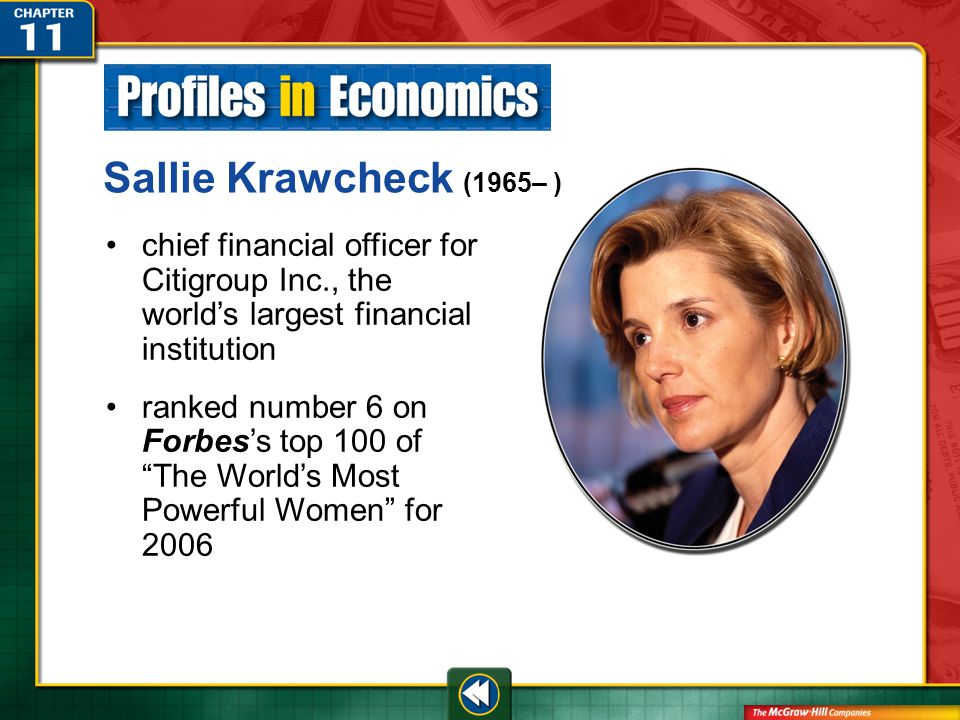 Profile Sallie Krawcheck (1965– ) chief financial officer for Citigroup Inc., the world's largest financial institution ranked number 6 on Forbes's top 100 of The World's Most Powerful Women for 2006