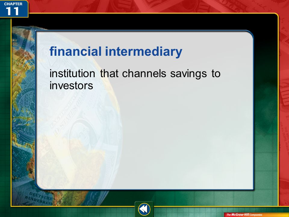 Vocab6 financial intermediary institution that channels savings to investors