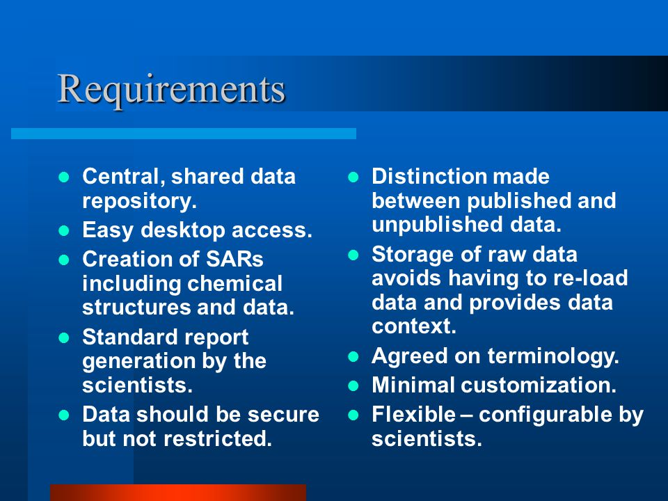 Requirements Central, shared data repository. Easy desktop access.