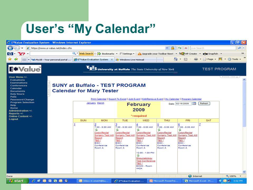 User's My Calendar