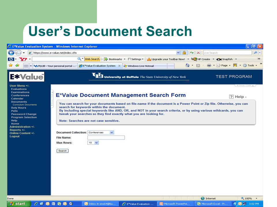 User's Document Search