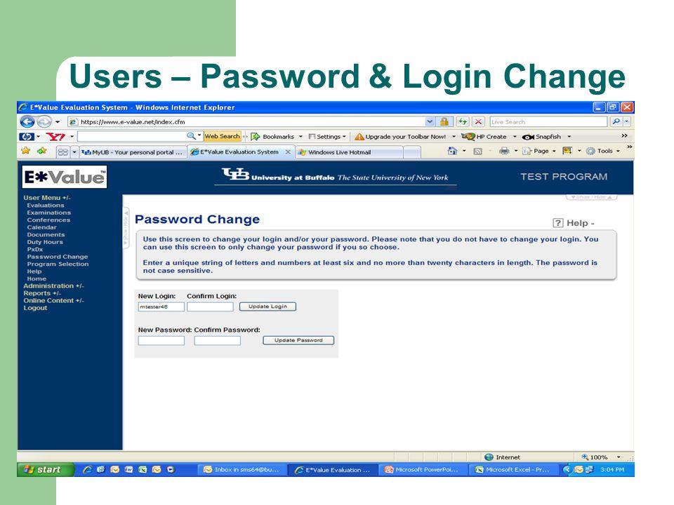 Users – Password & Login Change