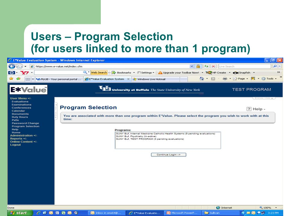 Users – Program Selection (for users linked to more than 1 program)