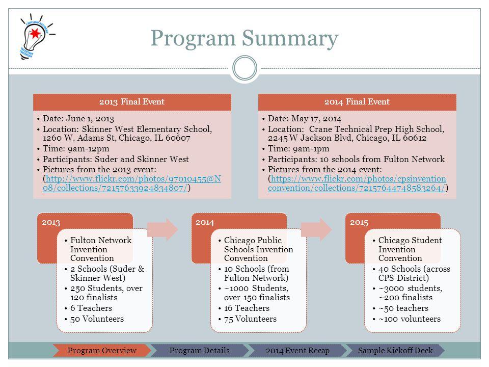 Program Summary 2013 Final Event Date: June 1, 2013 Location: Skinner West Elementary School, 1260 W.