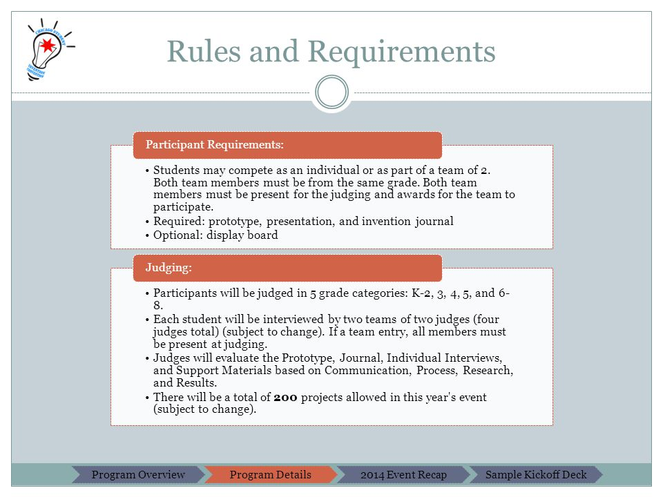 Rules and Requirements Students may compete as an individual or as part of a team of 2.