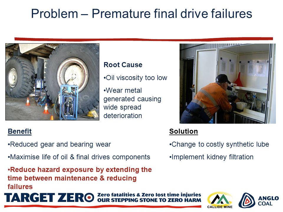 Root Cause Oil viscosity too low Wear metal generated causing wide spread deterioration Solution Change to costly synthetic lube Implement kidney filtration Benefit Reduced gear and bearing wear Maximise life of oil & final drives components Reduce hazard exposure by extending the time between maintenance & reducing failures Problem – Premature final drive failures