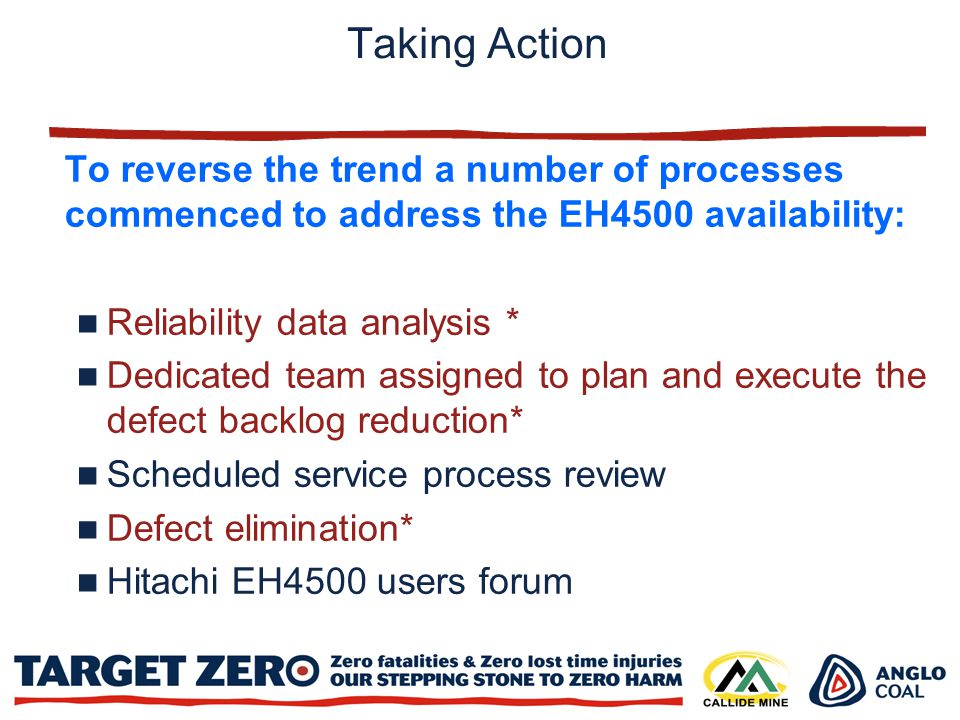 Taking Action To reverse the trend a number of processes commenced to address the EH4500 availability: Reliability data analysis * Dedicated team assigned to plan and execute the defect backlog reduction* Scheduled service process review Defect elimination* Hitachi EH4500 users forum