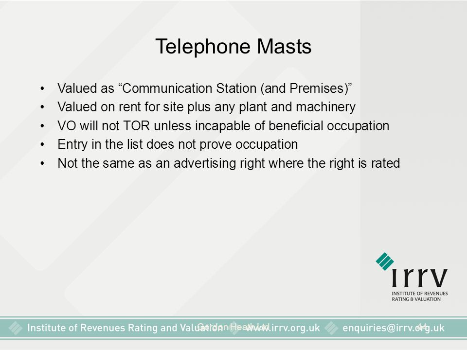 """Gordon Heath Ltd44 Telephone Masts Valued as """"Communication Station (and Premises)"""" Valued on rent for site plus any plant and machinery VO will not T"""