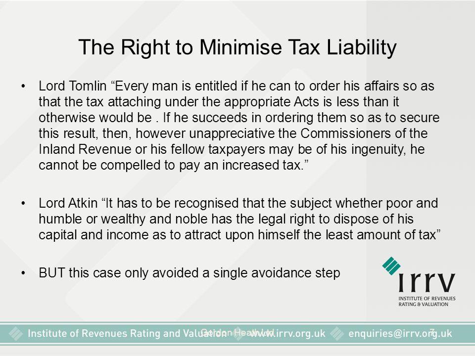 Gordon Heath Ltd8 The Right to Minimise Tax Liability The Ramsay Principle W.T.