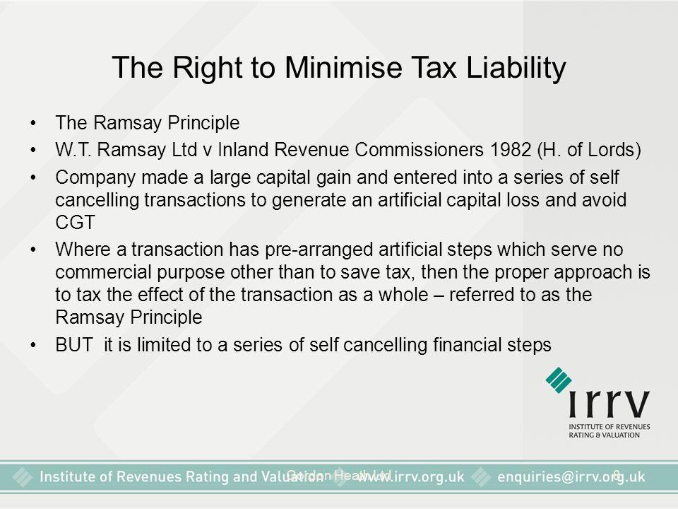 Gordon Heath Ltd8 The Right to Minimise Tax Liability The Ramsay Principle W.T. Ramsay Ltd v Inland Revenue Commissioners 1982 (H. of Lords) Company m