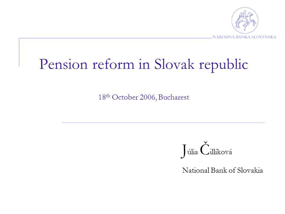 Pension reform in Slovak republic 18 th October 2006, Bucharest J úlia Č illíková National Bank of Slovakia