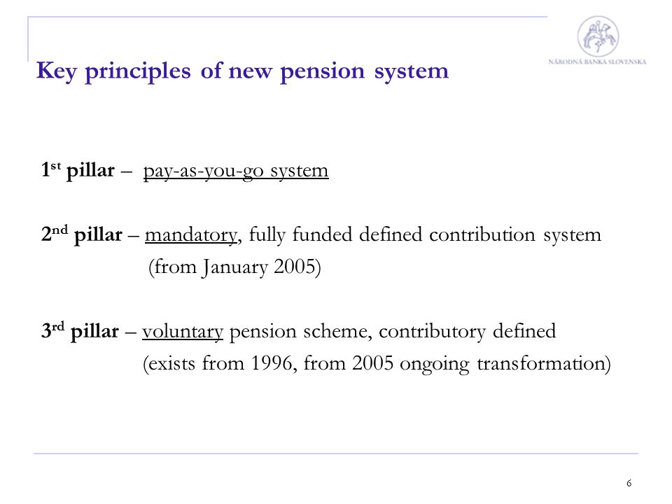 7 2 nd pillar - saving on saver's personal pension account - the aim is to assure an income in old age or in case of death to his/her survivors - the height of pension depends on: 1.